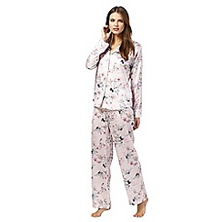 The Collection - Pink floral print satin pyjama set