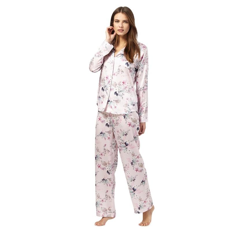 The Collection Pink Floral Print Satin Pyjama Set, Size: 14
