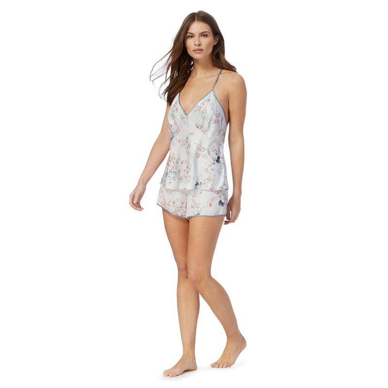 The Collection Grey Floral Print Satin Pyjama Set, Size: 16