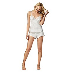 The Collection - Ivory satin lace trim cami and shorts set