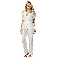 The Collection - Ivory satin lace trim three piece pyjama set