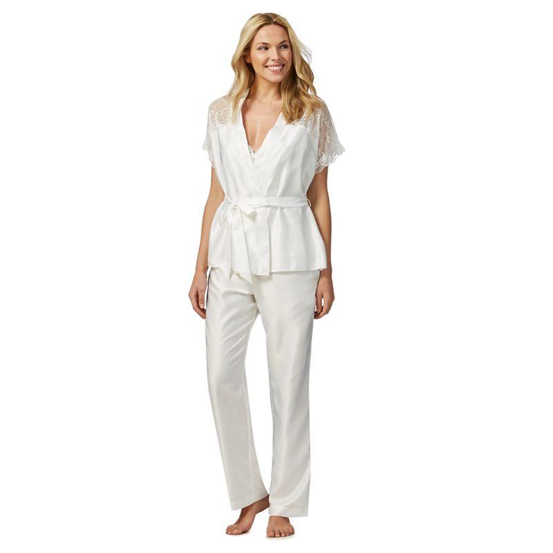 The Collection Ivory Satin Lace Trim Three Piece Pyjama