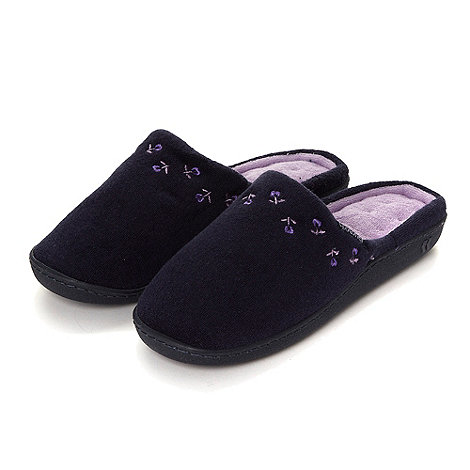Isotoner - Navy floral embroidered mule slippers