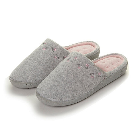 Isotoner - Grey floral embroidered mule slippers