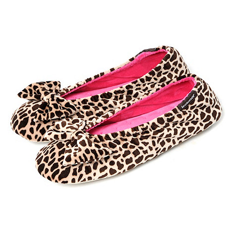 Isotoner - Beige Animal Large Bow Ballet Slippers