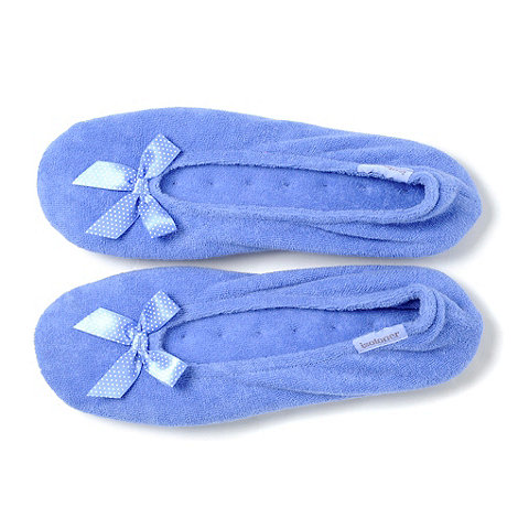Isotoner - Blue Stretch Fleece Ballet Slippers