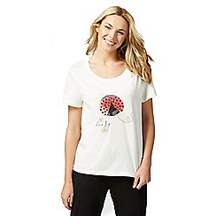 Lounge & Sleep - Cream ladybug print short sleeve pyjama top