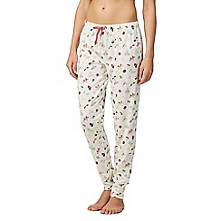 Lounge & Sleep - Cream butterfly print cuffed pyjama bottoms