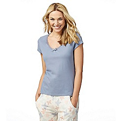 Lounge & Sleep - Blue lace trim pyjama top