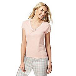 Lounge & Sleep - Light pink lace trim pyjama top