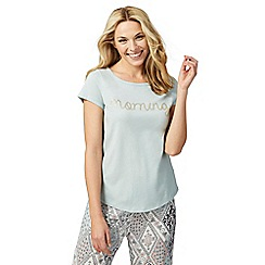 Lounge & Sleep - Pale green 'Morning' slogan print pyjama top