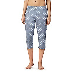 Lounge & Sleep - Blue polka dot cropped pyjama bottoms