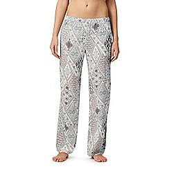 Lounge & Sleep - Blue woven patchwork print pyjama bottoms