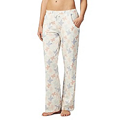 Lounge & Sleep - Ivory butterfly print pyjama bottoms