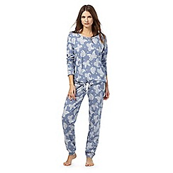Lounge & Sleep - Blue butterfly print pyjama twosie
