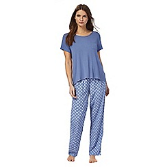 Lounge & Sleep - Blue tile print pyjama set