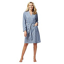 Lounge & Sleep - Blue polka dot print jersey dressing gown