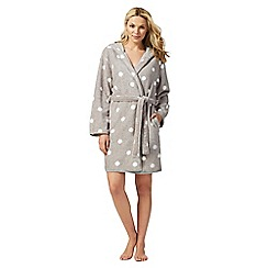 Lounge & Sleep - Grey polka dot print fleece dressing gown