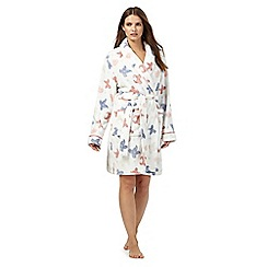 Lounge & Sleep - Cream butterfly print fleece dressing gown