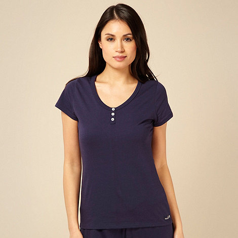 Presence - Navy mock button pyjama top