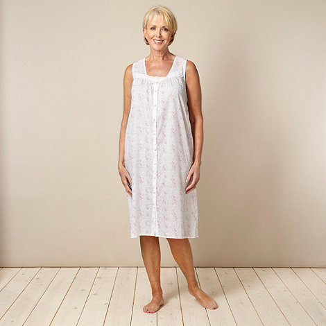 Classics - White 100% cotton rose printed woven nightdress