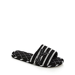 Lounge & Sleep - Black and white striped mule slippers