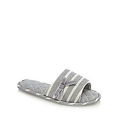 Lounge & Sleep - Grey striped mule slippers