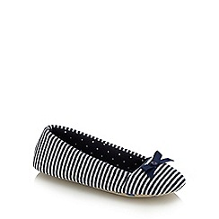 Lounge & Sleep - Navy striped ballet slippers