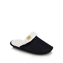 Lounge & Sleep - Navy sherpa lined mule slippers