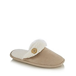 Lounge & Sleep - Natural sherpa lined mule slippers