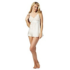 The Collection - Ivory satin lace babydoll and briefs set