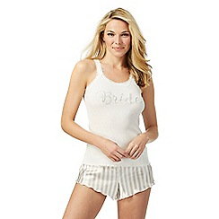 The Collection - Ivory diamante 'Bride' pyjama vest and striped shorts set