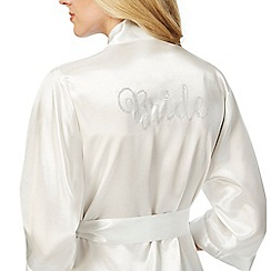 The Collection - Ivory satin diamante embellished 'Bride' kimono