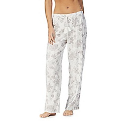 Lounge & Sleep - Cream floral print pyjama bottoms