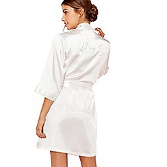 The Collection - Ivory 'Mrs S' satin dressing gown