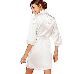 The Collection - Ivory 'Mrs J' satin dressing gown