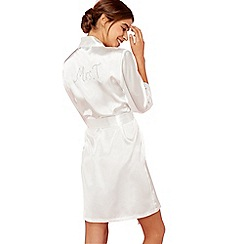 The Collection - Ivory 'Mrs T' satin dressing gown