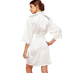 The Collection - Ivory 'Mrs B' satin dressing gown
