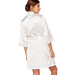 The Collection - Ivory 'Mrs W' satin dressing gown