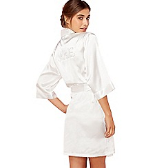 The Collection - Ivory 'Mrs E' satin dressing gown