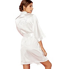 The Collection - Ivory 'Mrs H' satin dressing gown