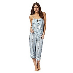 Lounge & Sleep - Blue floral tile print pyjama set