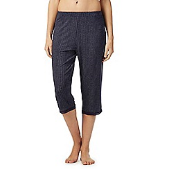 Lounge & Sleep - Navy broken stripe print pyjama bottoms