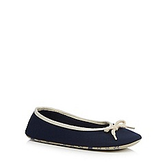 Lounge & Sleep - Navy rope trim ballet slippers