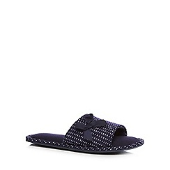 Lounge & Sleep - Navy dash print mule slippers