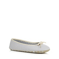 Lounge & Sleep - Grey striped rope trim ballet slippers