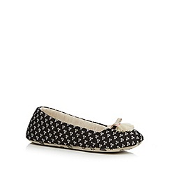 Lounge & Sleep - Black patterned tasselled ballet slippers