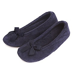 Totes - Blue 'Terry' bow ballet slippers