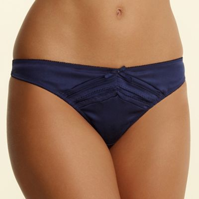 Navy pleat detail thong