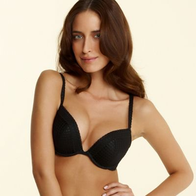 Black droplet embroidered push up plunge bra